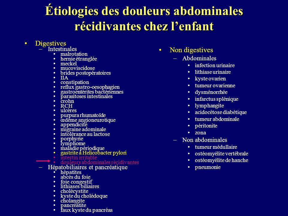 Étiologies des douleurs abdominales récidivantes chez lenfant Digestives –Intestinales malrotation hernie étranglée meckel mucoviscidose brides postop