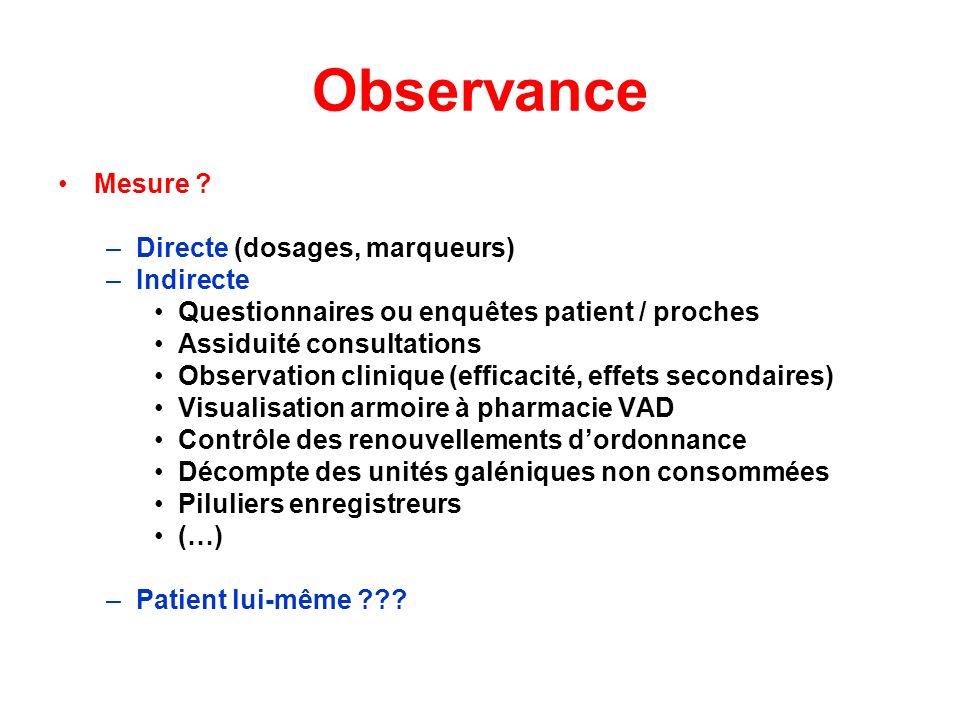 Observance Mesure ? –Directe (dosages, marqueurs) –Indirecte Questionnaires ou enquêtes patient / proches Assiduité consultations Observation clinique