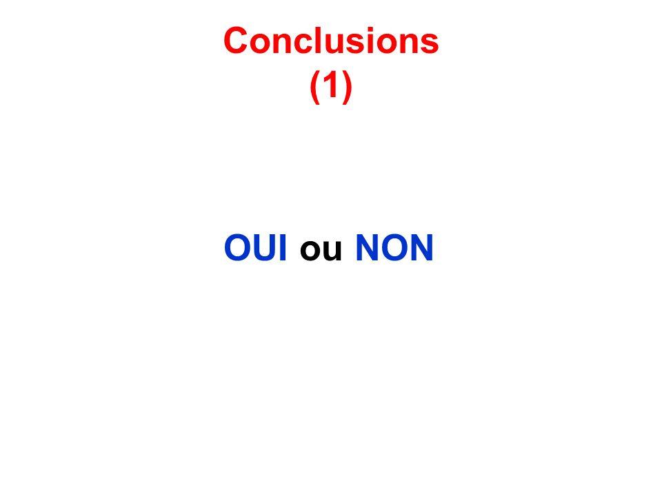Conclusions (1) OUI ou NON