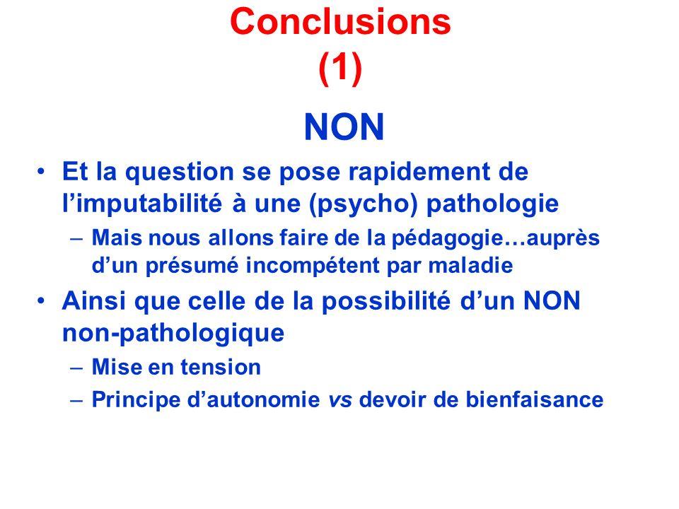 Conclusions (1) NON Et la question se pose rapidement de limputabilité à une (psycho) pathologie –Mais nous allons faire de la pédagogie…auprès dun pr