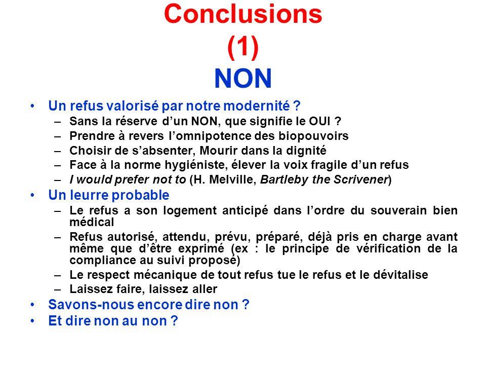 Conclusions (1) NON Un refus valorisé par notre modernité ? –Sans la réserve dun NON, que signifie le OUI ? –Prendre à revers lomnipotence des biopouv
