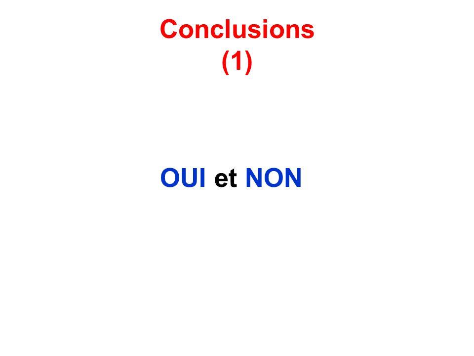 Conclusions (1) OUI et NON