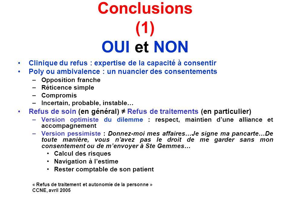 Conclusions (1) OUI et NON Clinique du refus : expertise de la capacité à consentir Poly ou ambivalence : un nuancier des consentements –Opposition fr