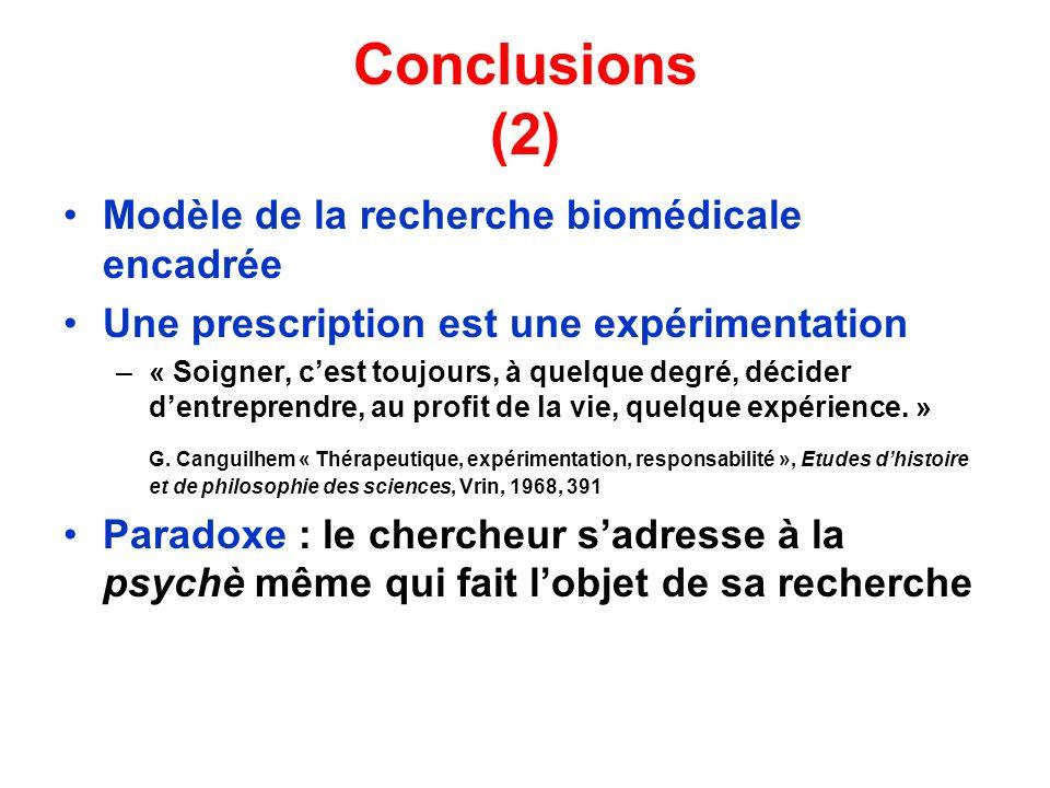 Conclusions (2) Modèle de la recherche biomédicale encadrée Une prescription est une expérimentation –« Soigner, cest toujours, à quelque degré, décid