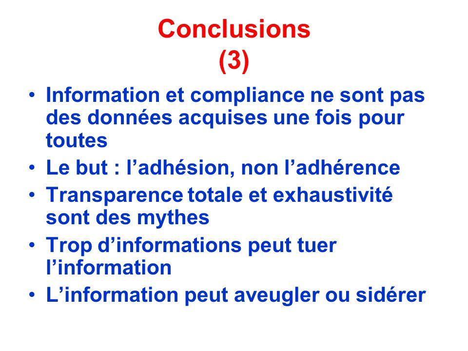 Conclusions (3) Information et compliance ne sont pas des données acquises une fois pour toutes Le but : ladhésion, non ladhérence Transparence totale