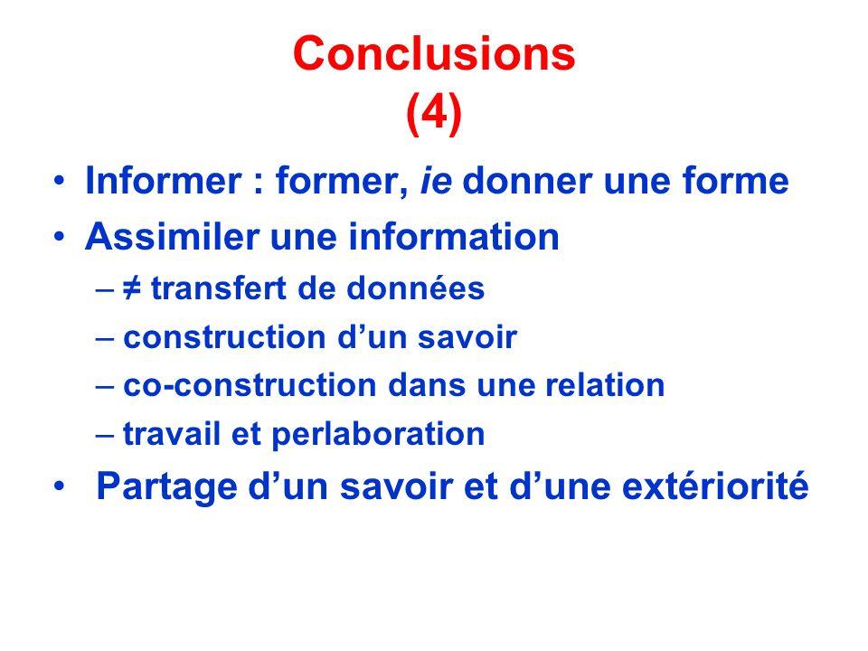 Conclusions (4) Informer : former, ie donner une forme Assimiler une information – transfert de données –construction dun savoir –co-construction dans