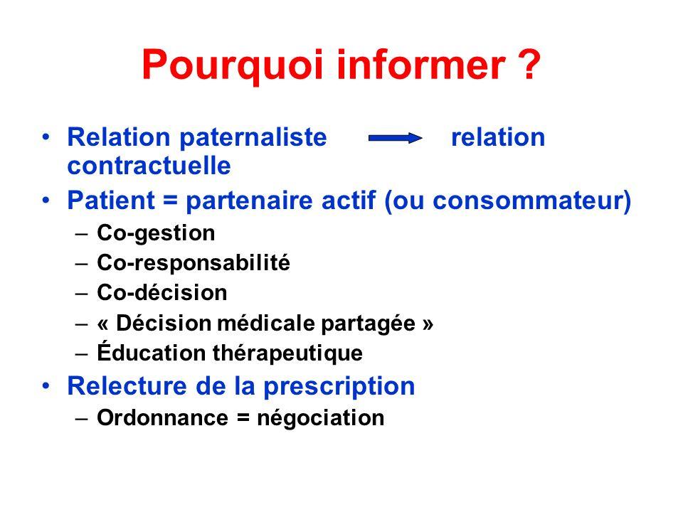 Pourquoi informer ? Relation paternaliste relation contractuelle Patient = partenaire actif (ou consommateur) –Co-gestion –Co-responsabilité –Co-décis