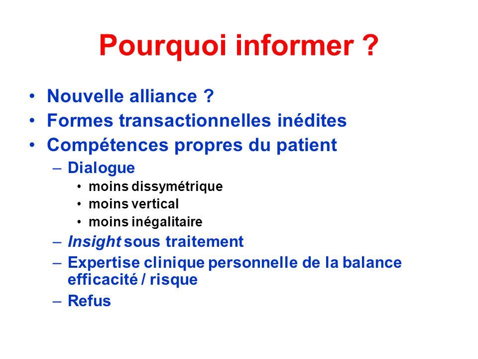 Pourquoi informer ? Nouvelle alliance ? Formes transactionnelles inédites Compétences propres du patient –Dialogue moins dissymétrique moins vertical