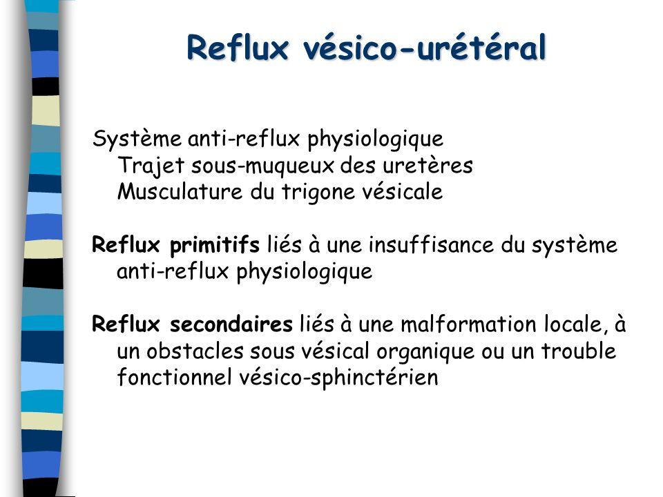 Reflux vésico-urétéral Système anti-reflux physiologique Trajet sous-muqueux des uretères Musculature du trigone vésicale Reflux primitifs liés à une
