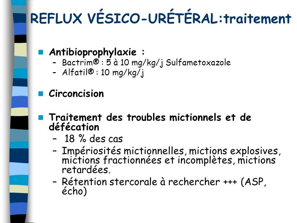 REFLUX VÉSICO-URÉTÉRAL:traitement Antibioprophylaxie : –Bactrim® : 5 à 10 mg/kg/j Sulfametoxazole –Alfatil® : 10 mg/kg/j Circoncision Traitement des t