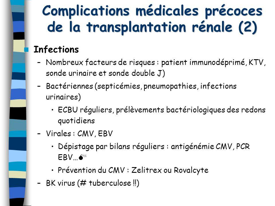 Complications médicales précoces de la transplantation rénale (2) Infections –Nombreux facteurs de risques : patient immunodéprimé, KTV, sonde urinair