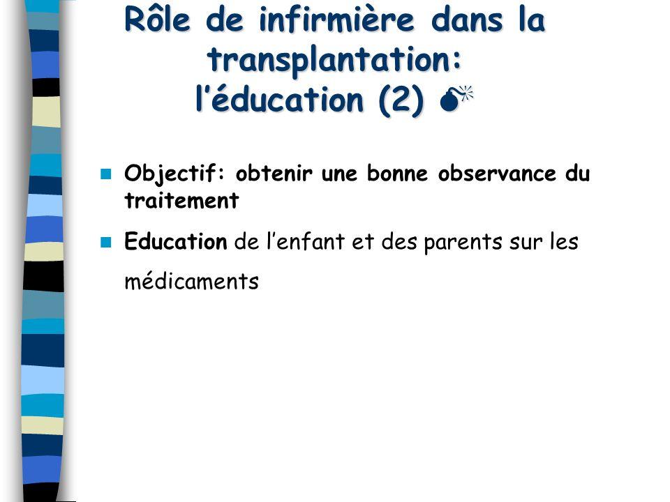 Rôle de infirmière dans la transplantation: léducation (2) Rôle de infirmière dans la transplantation: léducation (2) Objectif: obtenir une bonne obse