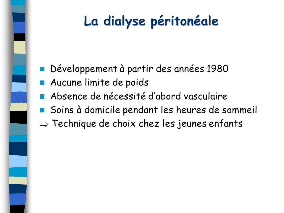 La dialyse péritonéale Développement à partir des années 1980 Aucune limite de poids Absence de nécessité dabord vasculaire Soins à domicile pendant l