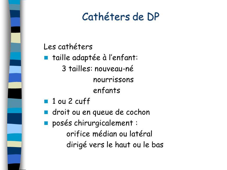Cathéters de DP Les cathéters taille adaptée à lenfant: 3 tailles: nouveau-né nourrissons enfants 1 ou 2 cuff droit ou en queue de cochon posés chirur