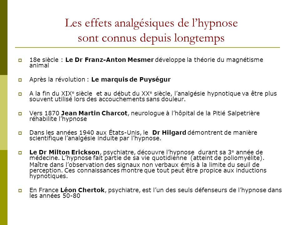 Les effets analgésiques de lhypnose sont connus depuis longtemps 18e siècle : Le Dr Franz-Anton Mesmer développe la théorie du magnétisme animal Après