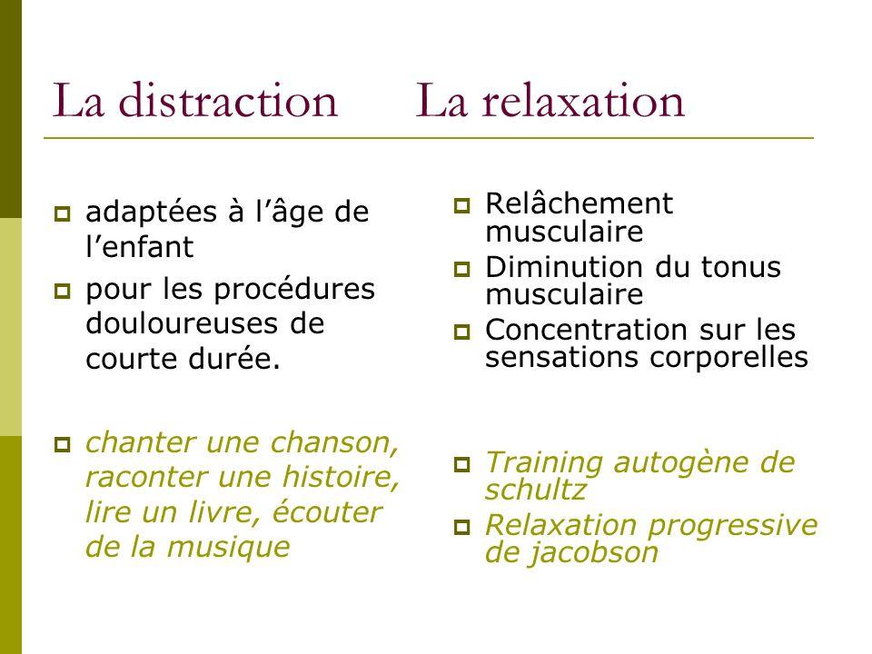 La distraction distraction passive (regarder des bulles de savon…) distraction active (compter sur ses doigts ou réaliser un dessin imaginaire…)