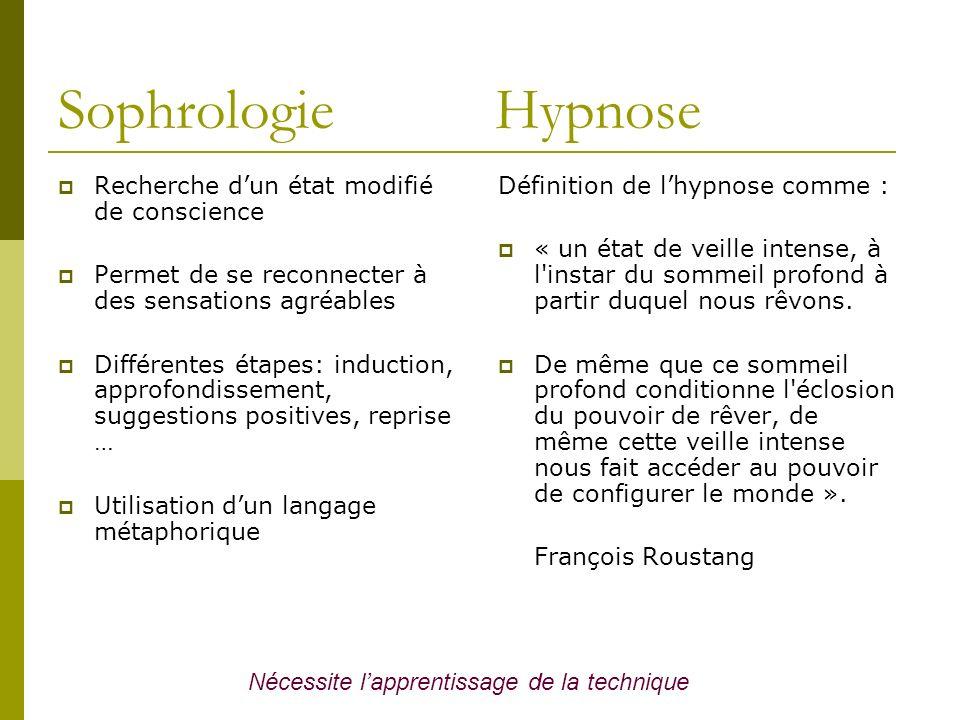 Sophrologie Hypnose Recherche dun état modifié de conscience Permet de se reconnecter à des sensations agréables Différentes étapes: induction, approf