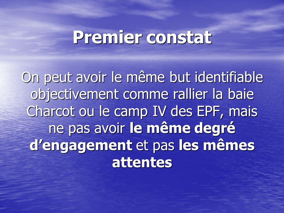 Premier constat On peut avoir le même but identifiable objectivement comme rallier la baie Charcot ou le camp IV des EPF, mais ne pas avoir le même de