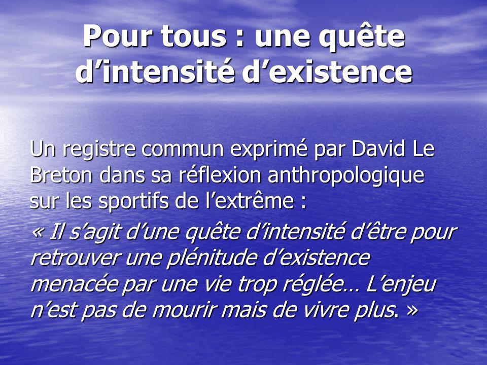 Pour tous : une quête dintensité dexistence Un registre commun exprimé par David Le Breton dans sa réflexion anthropologique sur les sportifs de lextr