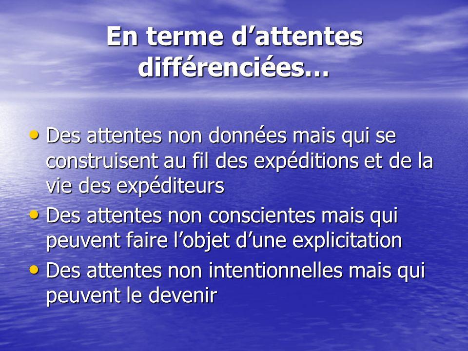 En terme dattentes différenciées… Des attentes non données mais qui se construisent au fil des expéditions et de la vie des expéditeurs Des attentes n