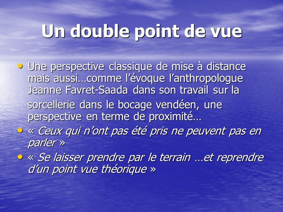 Un double point de vue Une perspective classique de mise à distance mais aussi…comme lévoque lanthropologue Jeanne Favret-Saada dans son travail sur l