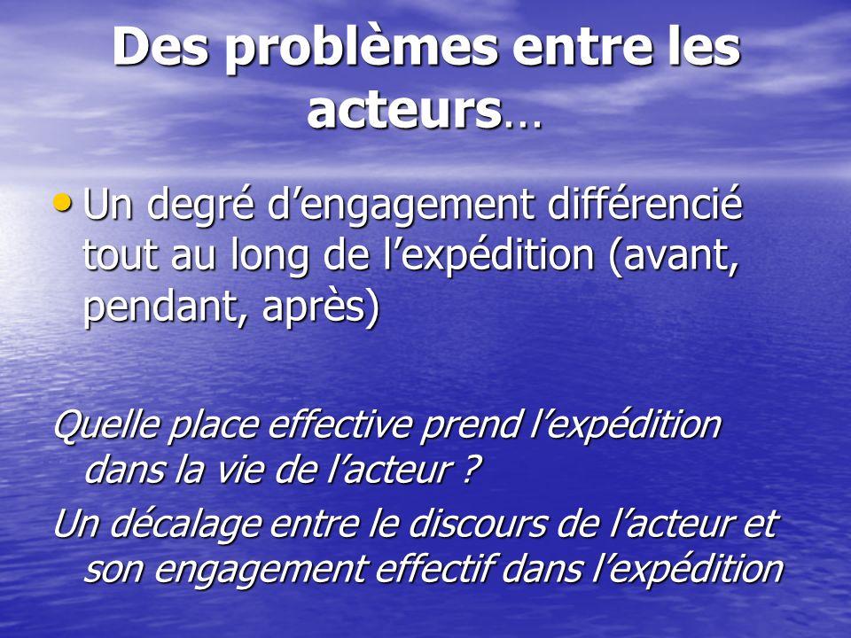 Des problèmes entre les acteurs… Un degré dengagement différencié tout au long de lexpédition (avant, pendant, après) Un degré dengagement différencié