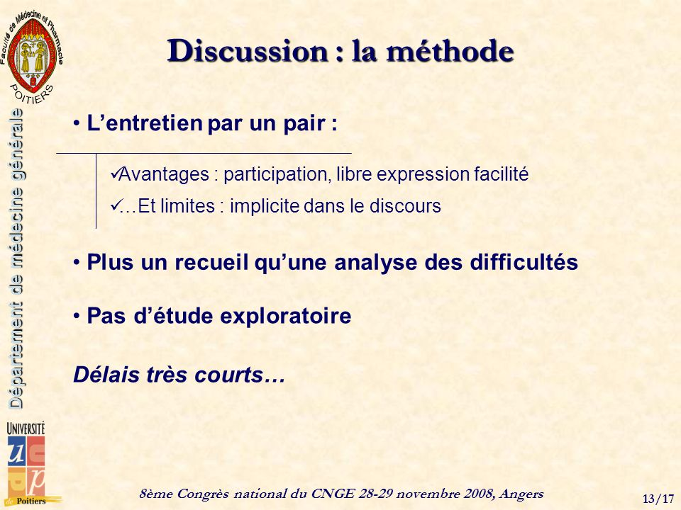 8ème Congrès national du CNGE 28-29 novembre 2008, Angers 13/17 Département de médecine générale Discussion : la méthode Lentretien par un pair : Avan