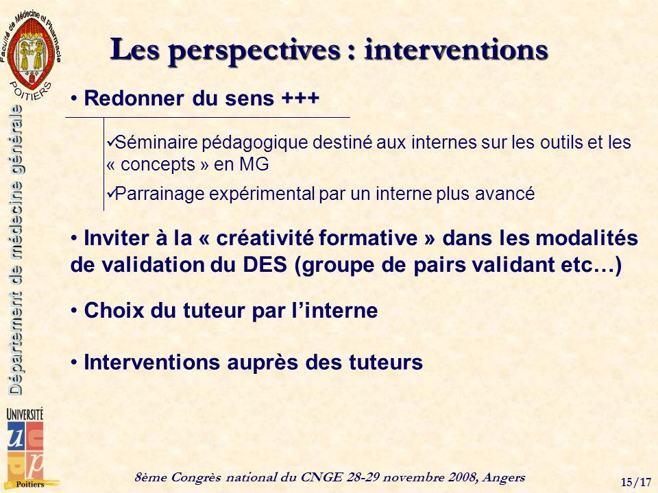 8ème Congrès national du CNGE 28-29 novembre 2008, Angers 15/17 Département de médecine générale Les perspectives : interventions Inviter à la « créat