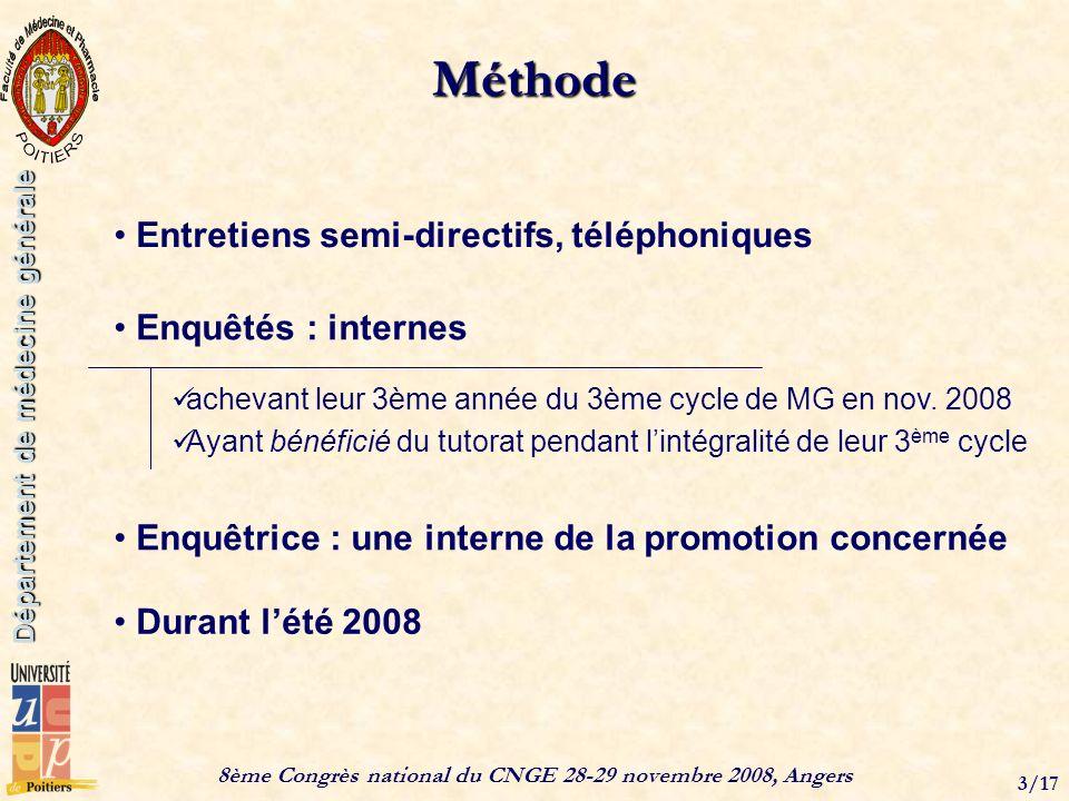 8ème Congrès national du CNGE 28-29 novembre 2008, Angers 3/17 Département de médecine générale Méthode Entretiens semi-directifs, téléphoniques Enquêtrice : une interne de la promotion concernée Durant lété 2008 Enquêtés : internes achevant leur 3ème année du 3ème cycle de MG en nov.