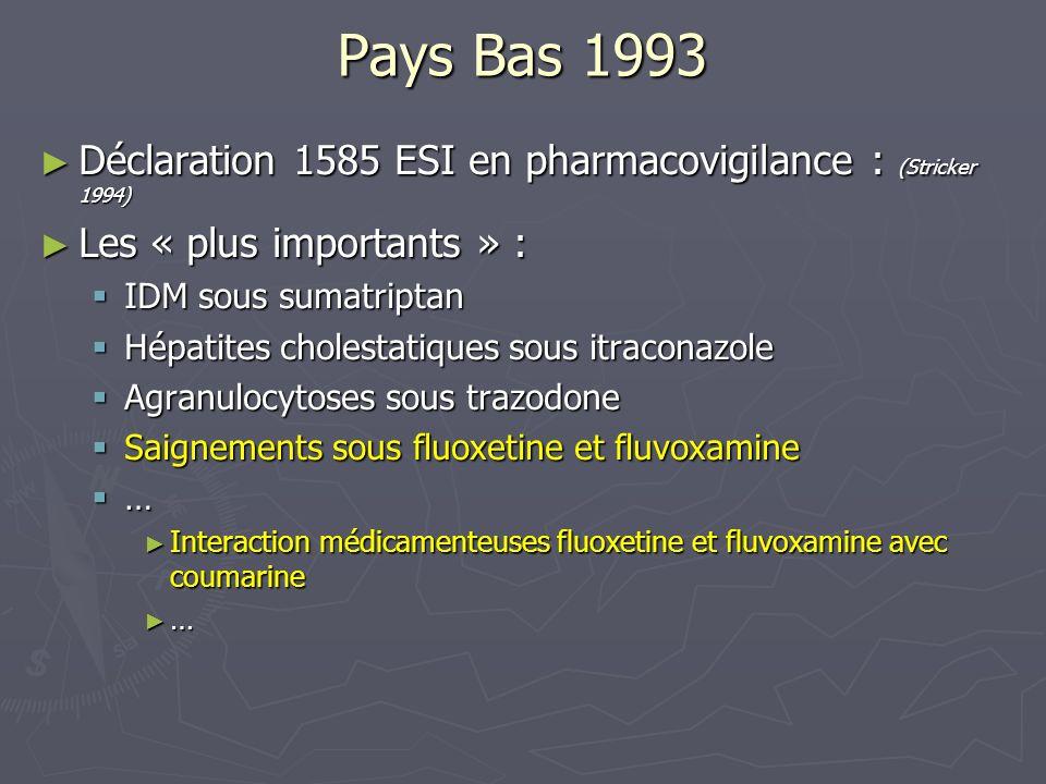 Pays Bas 1993 Déclaration 1585 ESI en pharmacovigilance : (Stricker 1994) Déclaration 1585 ESI en pharmacovigilance : (Stricker 1994) Les « plus impor
