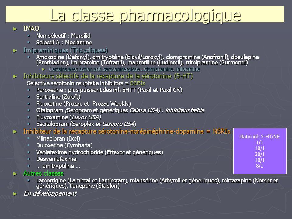 La classe pharmacologique IMAO IMAO Non sélectif : Marsilid Non sélectif : Marsilid Sélectif A : Moclamine Sélectif A : Moclamine Imipraminiques (Tric