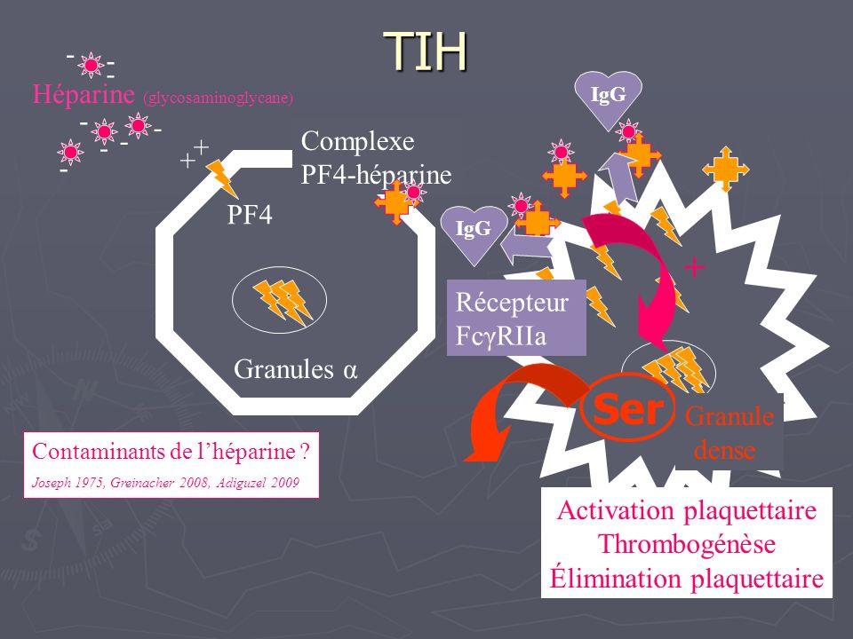Granules α + Héparine (glycosaminoglycane) - PF4 Complexe PF4-héparine IgG + Activation plaquettaire Thrombogénèse Élimination plaquettaire Récepteur