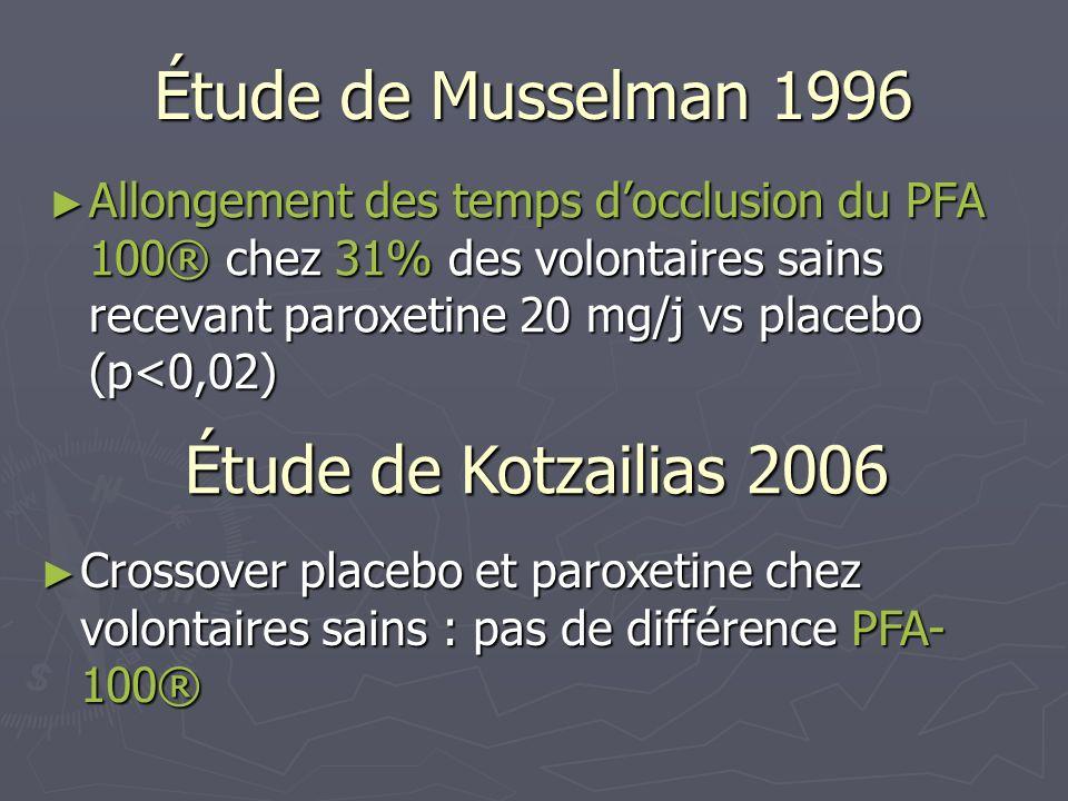 Étude de Musselman 1996 Allongement des temps docclusion du PFA 100® chez 31% des volontaires sains recevant paroxetine 20 mg/j vs placebo (p<0,02) Al