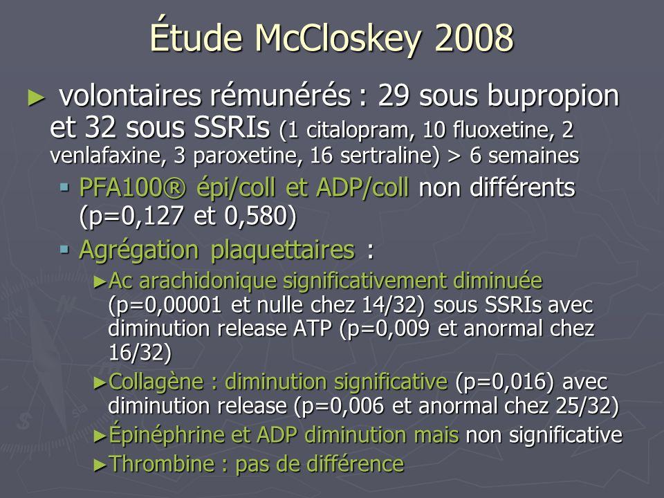 Étude McCloskey 2008 volontaires rémunérés : 29 sous bupropion et 32 sous SSRIs (1 citalopram, 10 fluoxetine, 2 venlafaxine, 3 paroxetine, 16 sertrali