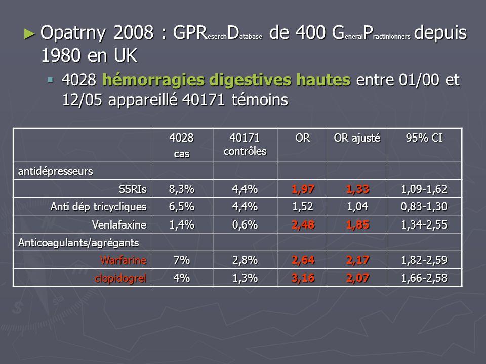 Opatrny 2008 : GPR eserch D atabase de 400 G eneral P ractinionners depuis 1980 en UK Opatrny 2008 : GPR eserch D atabase de 400 G eneral P ractinionn