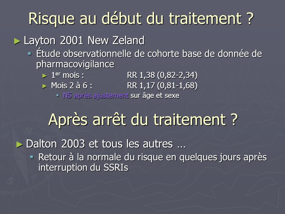 Risque au début du traitement ? Layton 2001 New Zeland Layton 2001 New Zeland Étude observationnelle de cohorte base de donnée de pharmacovigilance Ét