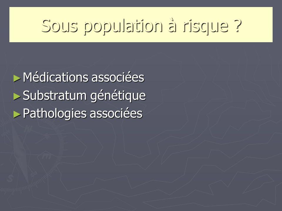 Sous population à risque ? Médications associées Médications associées Substratum génétique Substratum génétique Pathologies associées Pathologies ass