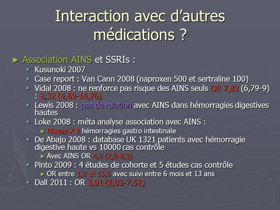 Interaction avec dautres médications ? Association AINS et SSRIs : Association AINS et SSRIs : Kusunoki 2007 Kusunoki 2007 Case report : Van Cann 2008