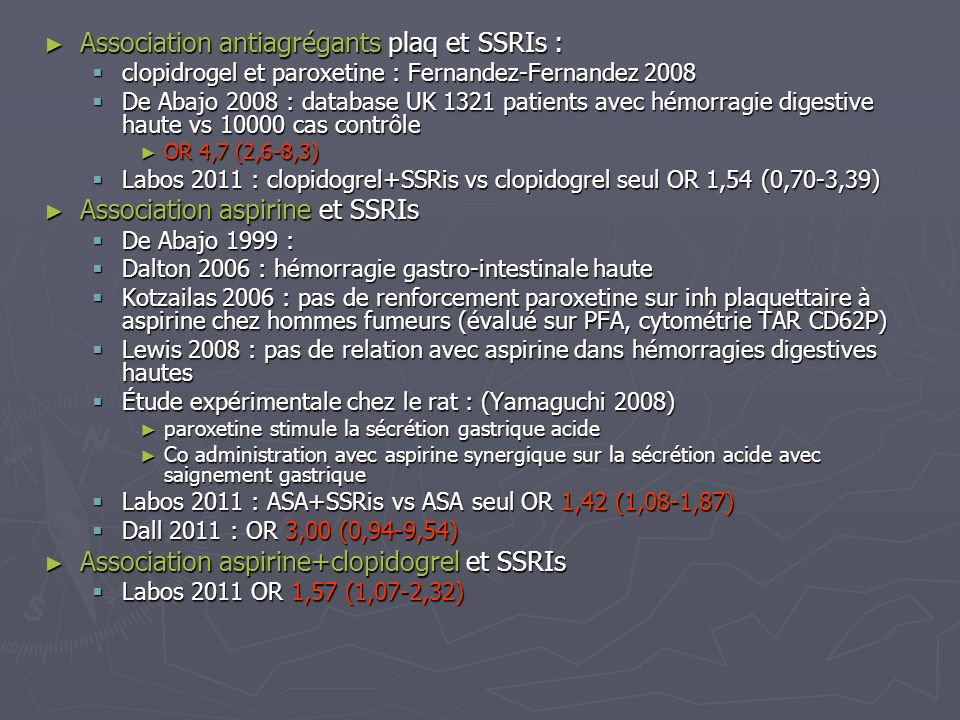Association antiagrégants plaq et SSRIs : Association antiagrégants plaq et SSRIs : clopidrogel et paroxetine : Fernandez-Fernandez 2008 clopidrogel e