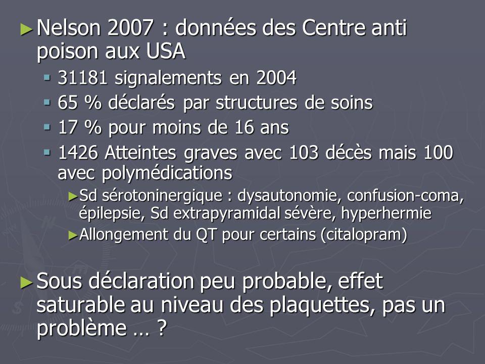 Nelson 2007 : données des Centre anti poison aux USA Nelson 2007 : données des Centre anti poison aux USA 31181 signalements en 2004 31181 signalement