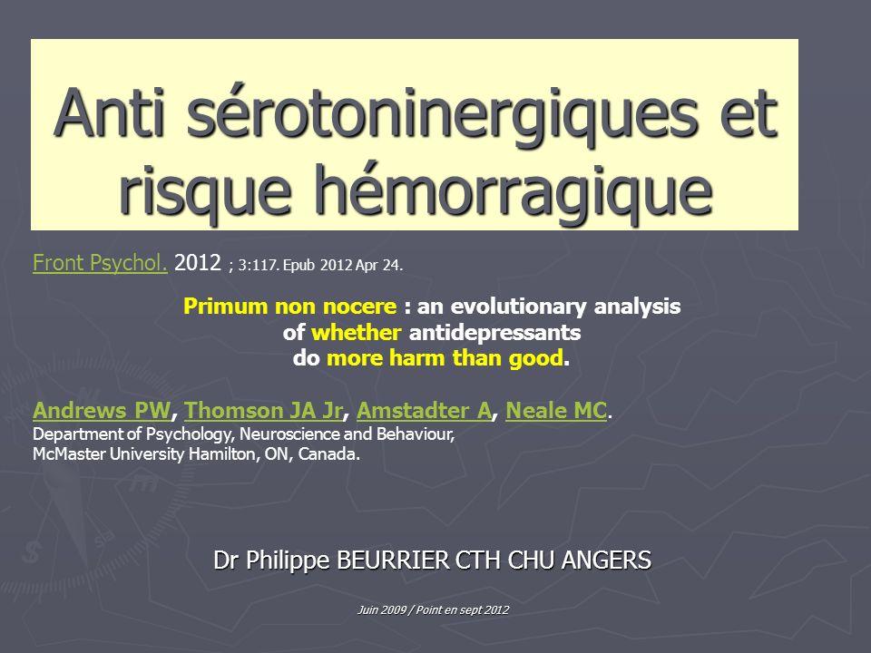 Anti sérotoninergiques et risque hémorragique Dr Philippe BEURRIER CTH CHU ANGERS Juin 2009 / Point en sept 2012 Front Psychol.Front Psychol. 2012 ; 3
