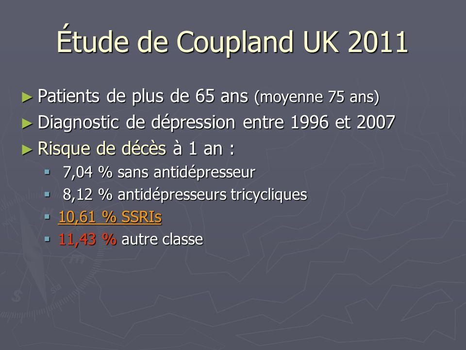 Étude de Coupland UK 2011 Patients de plus de 65 ans (moyenne 75 ans) Patients de plus de 65 ans (moyenne 75 ans) Diagnostic de dépression entre 1996