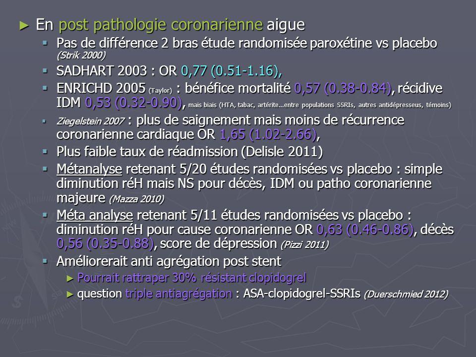 En post pathologie coronarienne aigue En post pathologie coronarienne aigue Pas de différence 2 bras étude randomisée paroxétine vs placebo (Strik 200