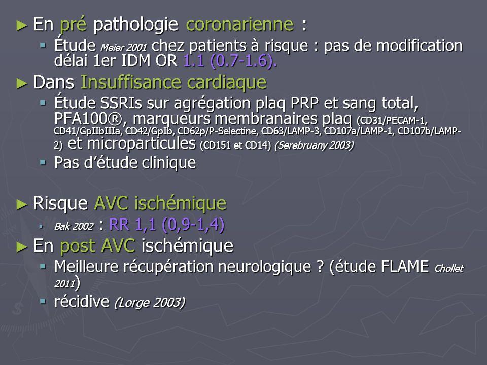 En pré pathologie coronarienne : En pré pathologie coronarienne : Étude Meier 2001 chez patients à risque : pas de modification délai 1er IDM OR 1.1 (