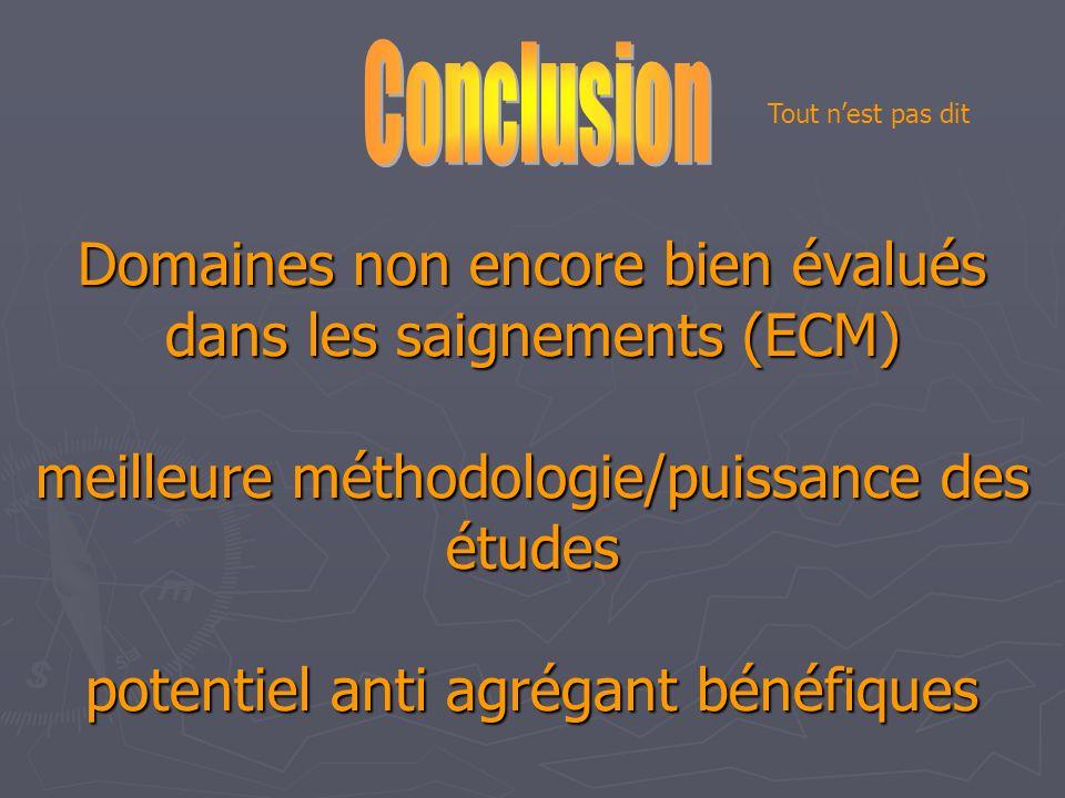 Domaines non encore bien évalués dans les saignements (ECM) meilleure méthodologie/puissance des études potentiel anti agrégant bénéfiques Tout nest p