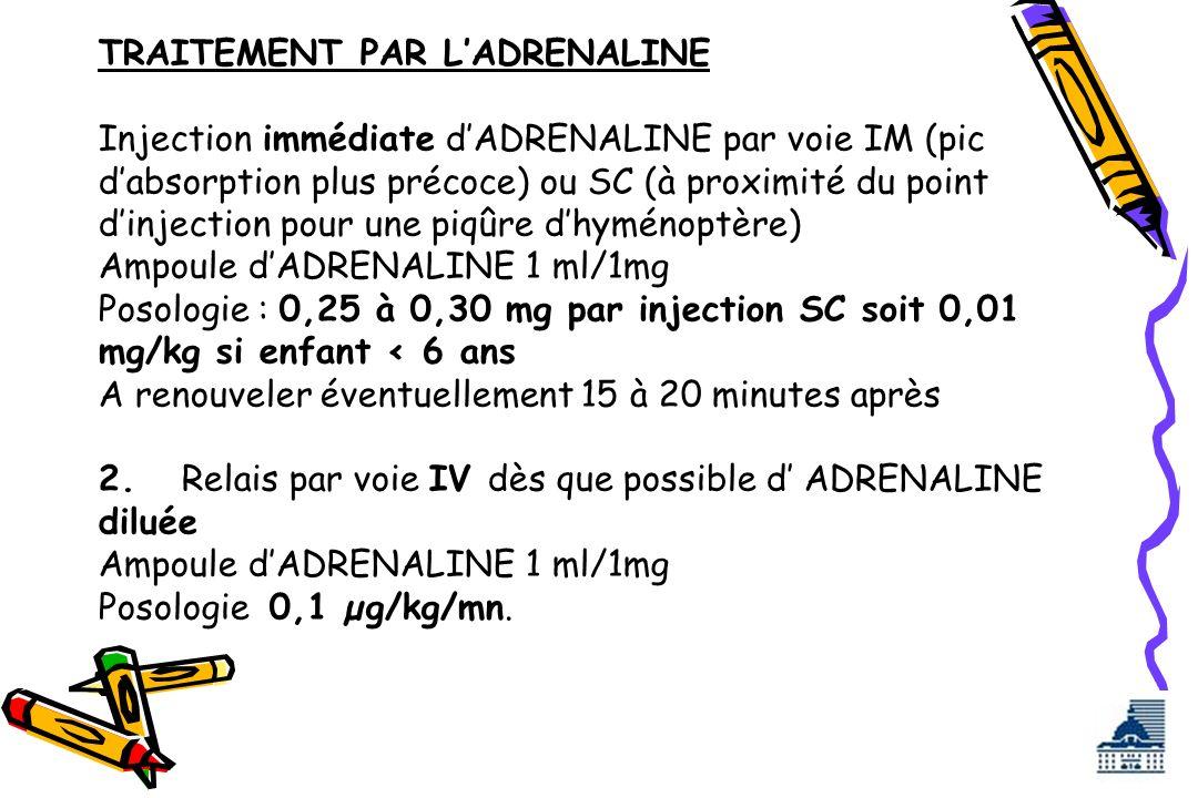 TRAITEMENT PAR LADRENALINE Injection immédiate dADRENALINE par voie IM (pic dabsorption plus précoce) ou SC (à proximité du point dinjection pour une