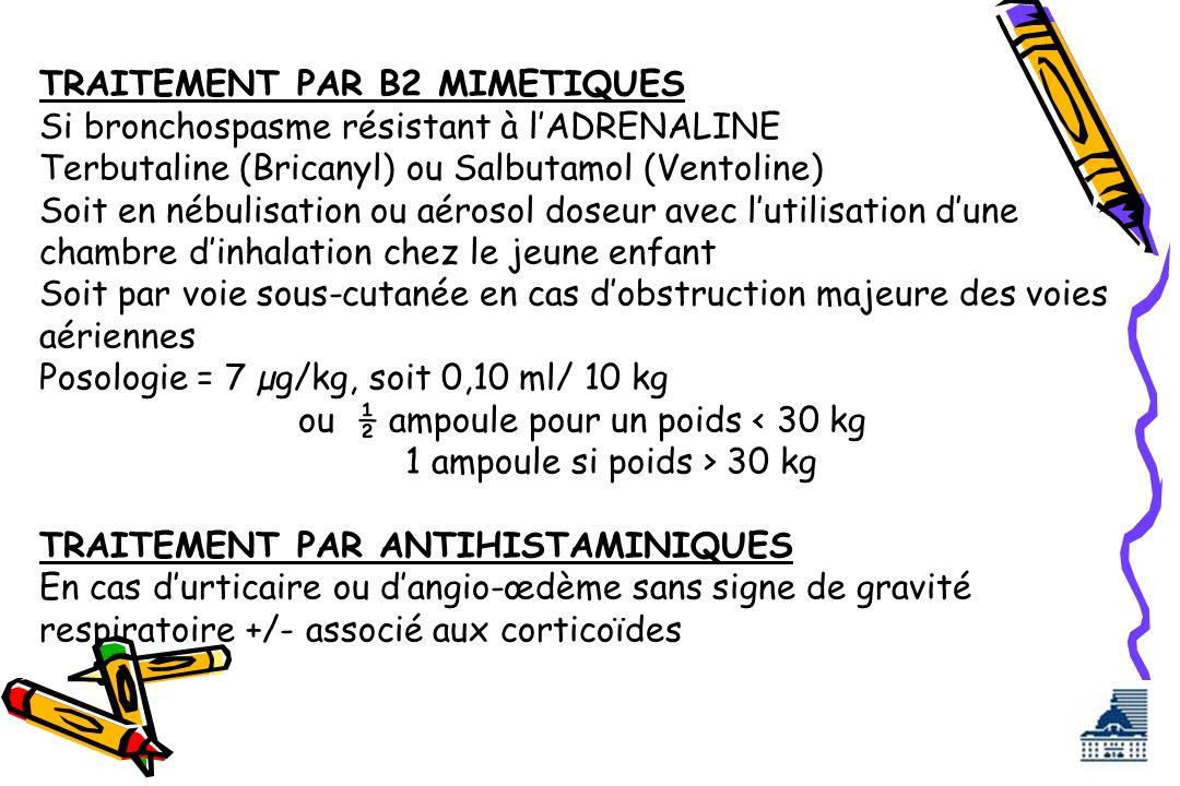 TRAITEMENT PAR B2 MIMETIQUES Si bronchospasme résistant à lADRENALINE Terbutaline (Bricanyl) ou Salbutamol (Ventoline) Soit en nébulisation ou aérosol
