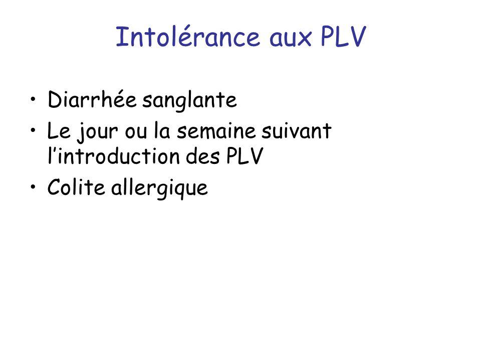 Intolérance aux PLV Diarrhée sanglante Le jour ou la semaine suivant lintroduction des PLV Colite allergique