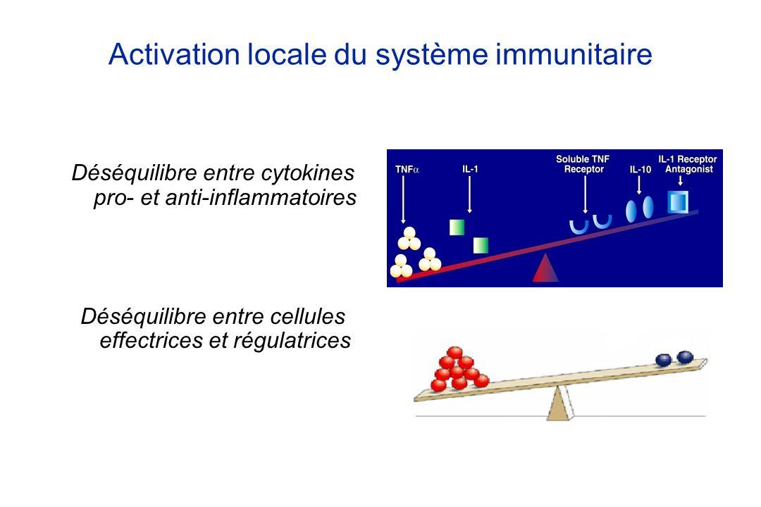 Activation locale du système immunitaire Déséquilibre entre cytokines pro- et anti-inflammatoires Déséquilibre entre cellules effectrices et régulatri