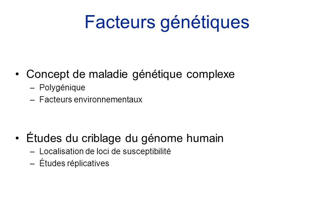 Facteurs génétiques Concept de maladie génétique complexe –Polygénique –Facteurs environnementaux Études du criblage du génome humain –Localisation de